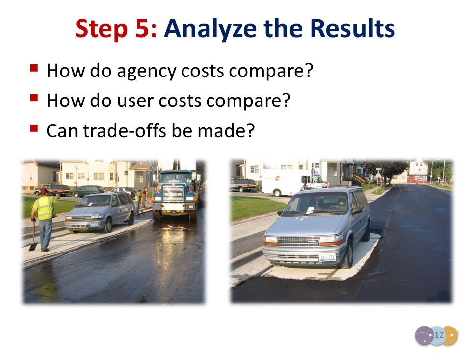 12  How do agency costs compare?  How do user costs compare?  Can trade-offs be made? Step 5: Analyze the Results