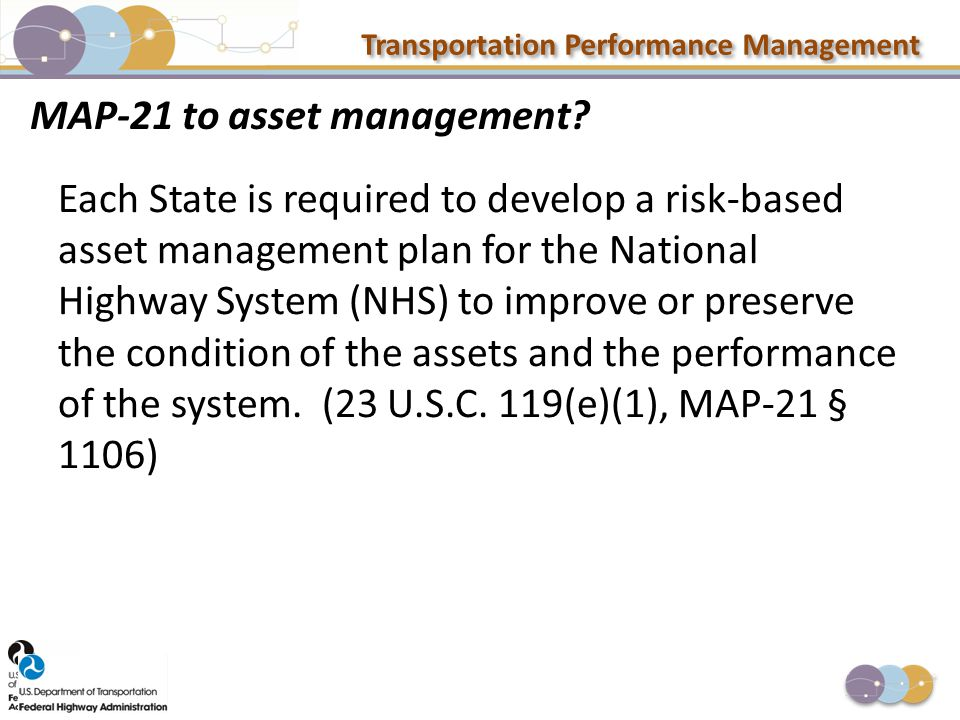 Transportation Performance Management MAP-21 to asset management? Each State is required to develop a risk-based asset management plan for the Nationa