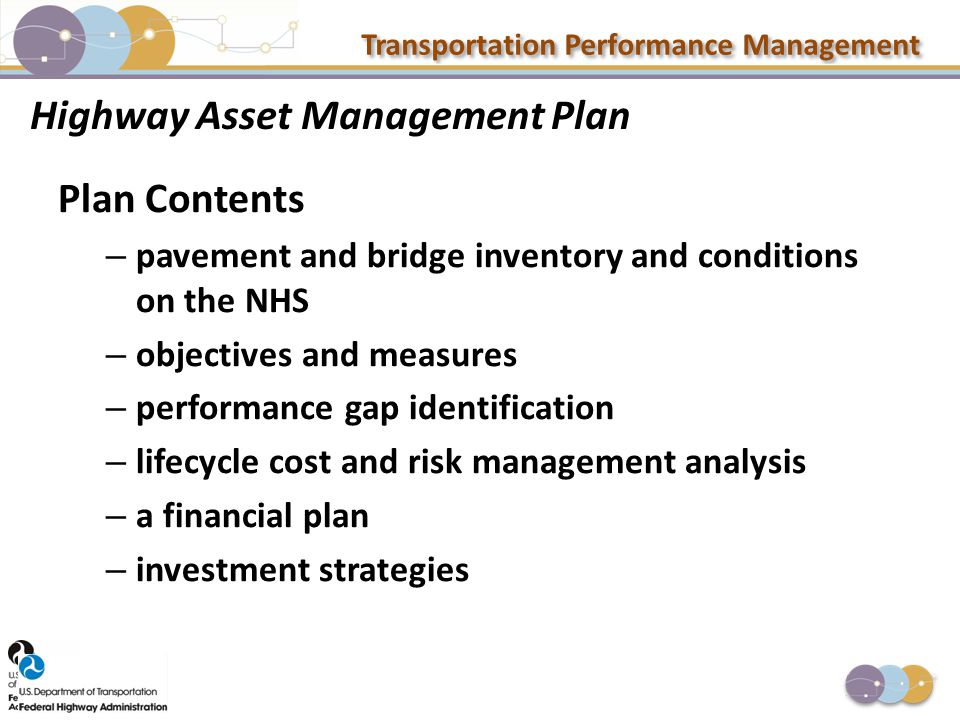 Transportation Performance Management Highway Asset Management Plan Plan Contents – pavement and bridge inventory and conditions on the NHS – objectiv