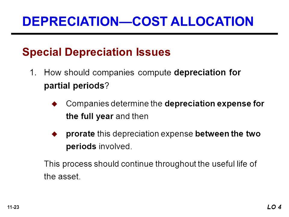 11-23 Special Depreciation Issues 1.How should companies compute depreciation for partial periods.