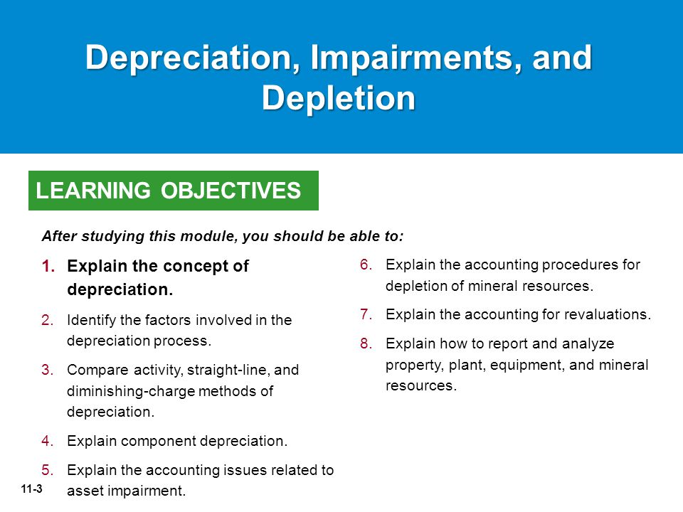 11-3 6.Explain the accounting procedures for depletion of mineral resources.