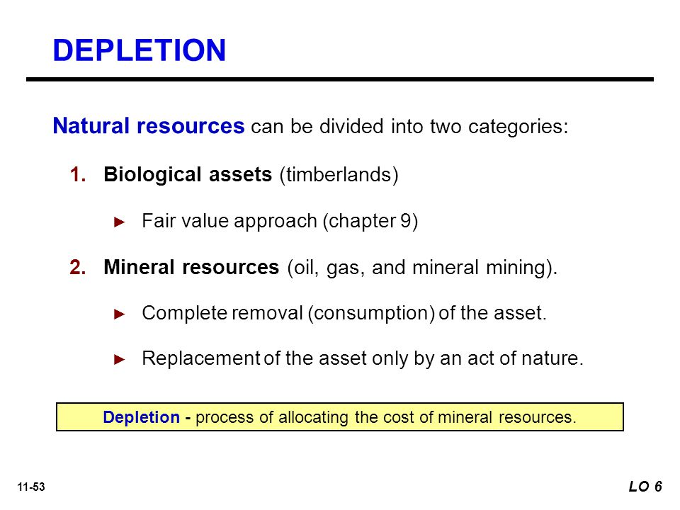 11-53 Natural resources can be divided into two categories:  Biological assets (timberlands) ► Fair value approach (chapter 9)  Mineral resources (oil, gas, and mineral mining).