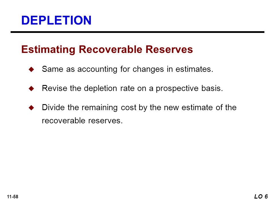 11-58 Estimating Recoverable Reserves  Same as accounting for changes in estimates.