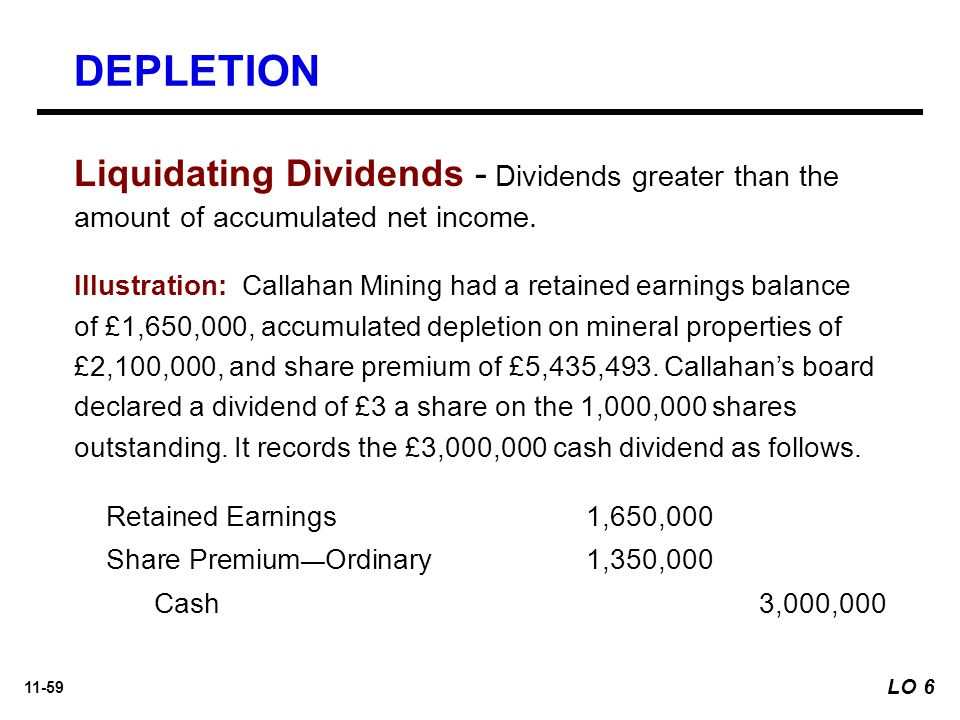 11-59 Liquidating Dividends - Dividends greater than the amount of accumulated net income.