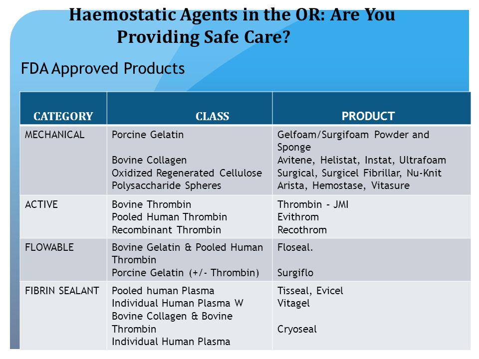 FDA FDA Approved Hemostats CATEGORY CLASS PRODUCT MECHANICALPorcine Gelatin Bovine Collagen Oxidized Regenerated Cellulose Polysaccharide Spheres Gelfoam/Surgifoam Powder and Sponge Avitene, Helistat, Instat, Ultrafoam Surgical, Surgicel Fibrillar, Nu-Knit Arista, Hemostase, Vitasure ACTIVEBovine Thrombin Pooled Human Thrombin Recombinant Thrombin Thrombin – JMI Evithrom Recothrom FLOWABLEBovine Gelatin & Pooled Human Thrombin Porcine Gelatin (+/- Thrombin) Floseal.