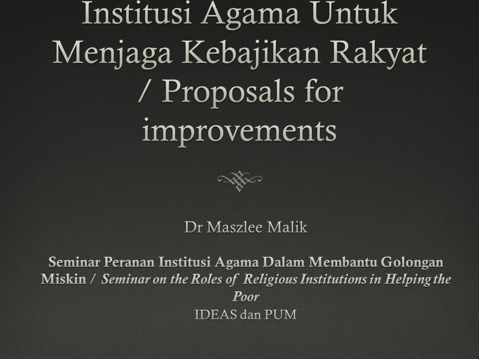 Waqf ReformWaqf Reform  Expanding the role of zakat (endowment), and empower non-state actors to run awqaf.