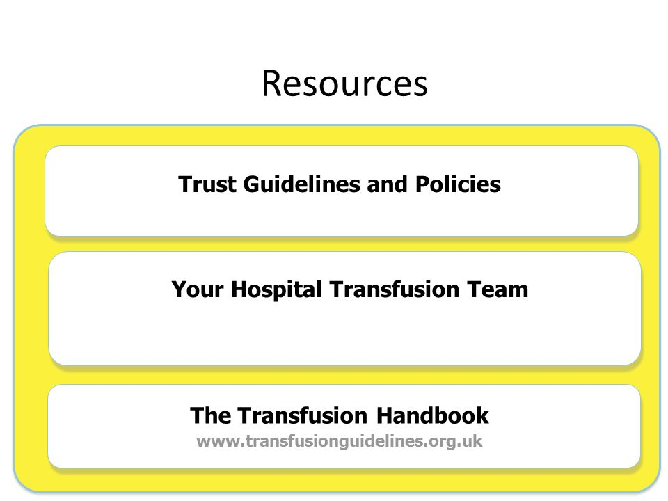Resources Trust Guidelines and Policies The Transfusion Handbook www.transfusionguidelines.org.uk Your Hospital Transfusion Team