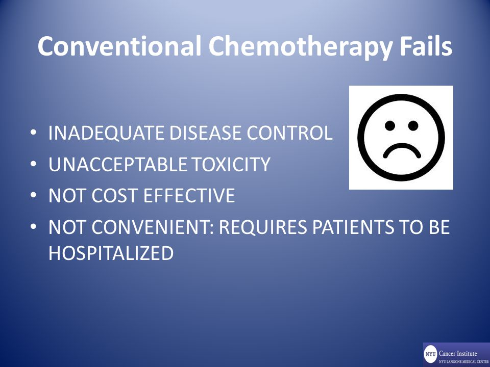 Conventional Chemotherapy Fails INADEQUATE DISEASE CONTROL UNACCEPTABLE TOXICITY NOT COST EFFECTIVE NOT CONVENIENT: REQUIRES PATIENTS TO BE HOSPITALIZED