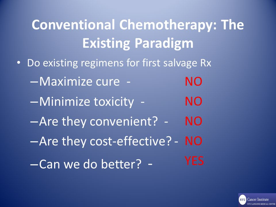 Conventional Chemotherapy: The Existing Paradigm Do existing regimens for first salvage Rx – Maximize cure - – Minimize toxicity - – Are they convenient.