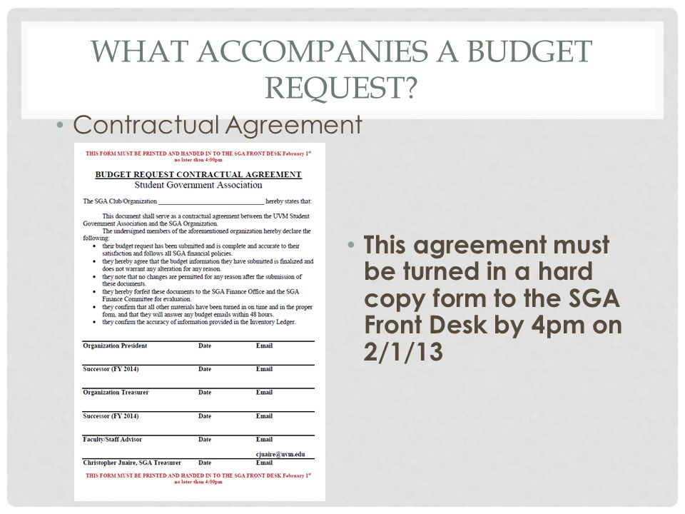 Contractual Agreement This agreement must be turned in a hard copy form to the SGA Front Desk by 4pm on 2/1/13