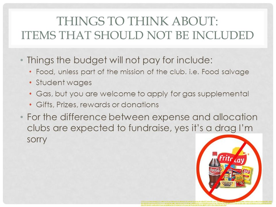 THINGS TO THINK ABOUT: ITEMS THAT SHOULD NOT BE INCLUDED Things the budget will not pay for include: Food, unless part of the mission of the club.
