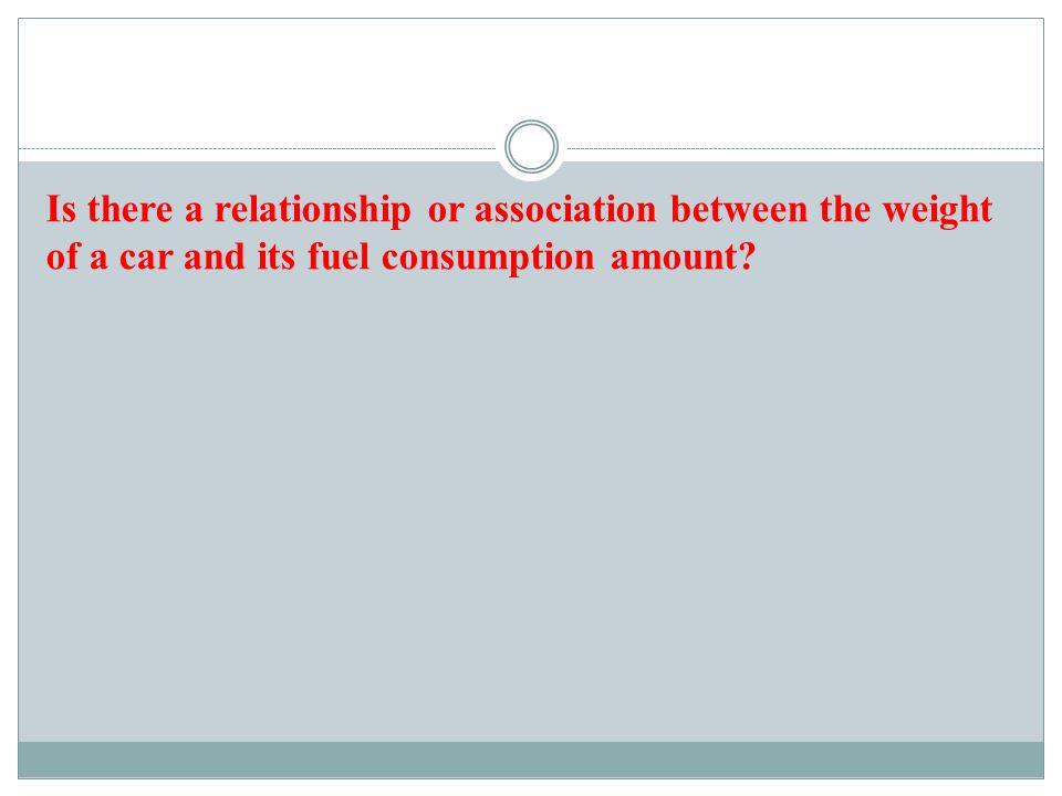 Is there a relationship or association between the weight of a car and its fuel consumption amount?