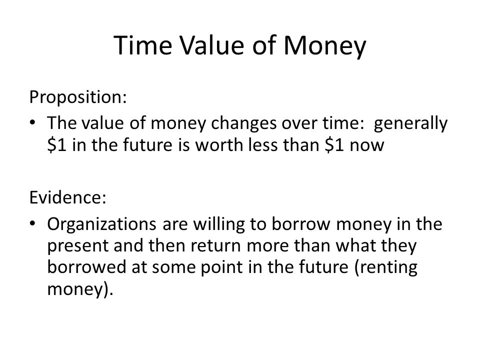 Example 1: Simple Interest Future Value Assume: – Invest $100 now (P=$100) – At 8% annual interest rate (i=8%=0.08) – A single 1 year period (n=1) Find: Future Value (F) – F = (1+i)P = (1+0.08)100= $108