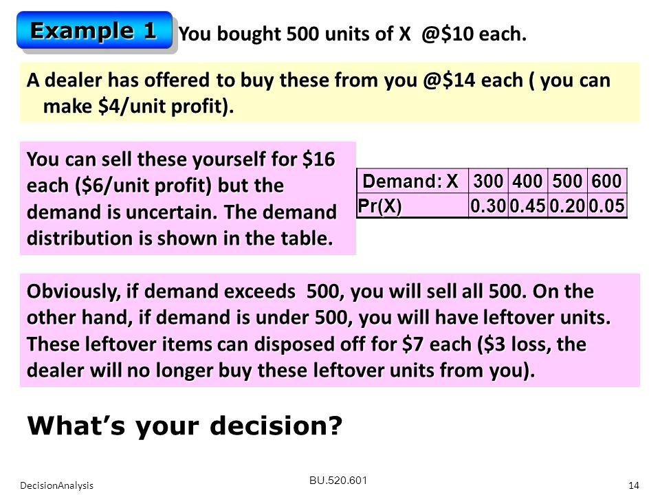 BU.520.601 DecisionAnalysis14 You bought 500 units of X @$10 each.