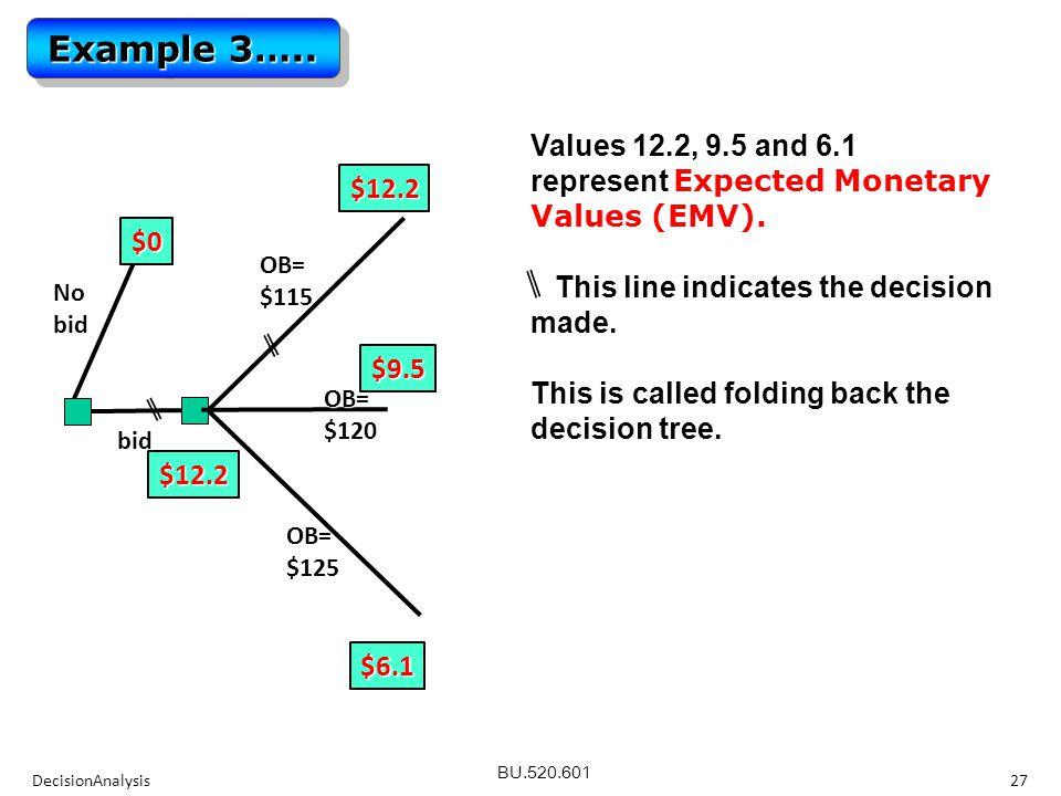 BU.520.601 Values 12.2, 9.5 and 6.1 represent Expected Monetary Values (EMV).