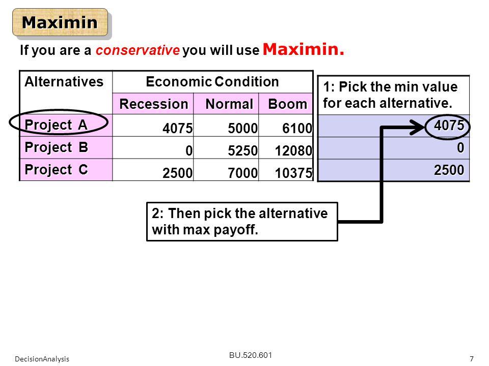 BU.520.601 DecisionAnalysis7 MaximinMaximinAlternatives Economic Condition RecessionNormalBoom Project A 407550006100 Project B 0525012080 Project C 2500700010375 1: Pick the min value for each alternative.