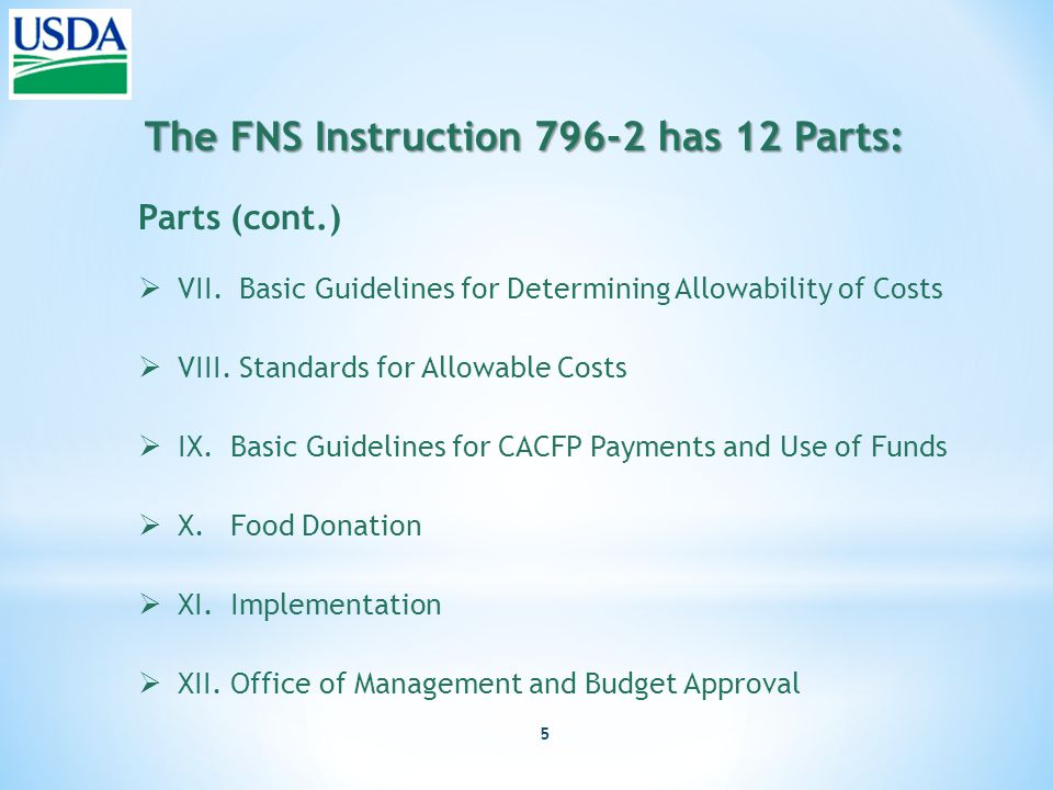 5 The FNS Instruction 796-2 has 12 Parts: Parts (cont.)  VII.