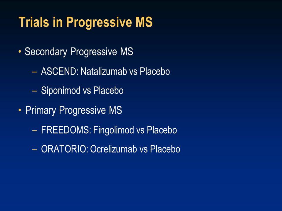 Trials in Progressive MS Secondary Progressive MS –ASCEND: Natalizumab vs Placebo –Siponimod vs Placebo Primary Progressive MS –FREEDOMS: Fingolimod vs Placebo –ORATORIO: Ocrelizumab vs Placebo