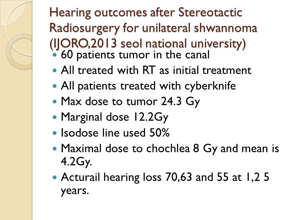 Hearing outcomes after Stereotactic Radiosurgery for unilateral shwannoma (IJORO,2013 seol national university) 60 patients tumor in the canal All treated with RT as initial treatment All patients treated with cyberknife Max dose to tumor 24.3 Gy Marginal dose 12.2Gy Isodose line used 50% Maximal dose to chochlea 8 Gy and mean is 4.2Gy.