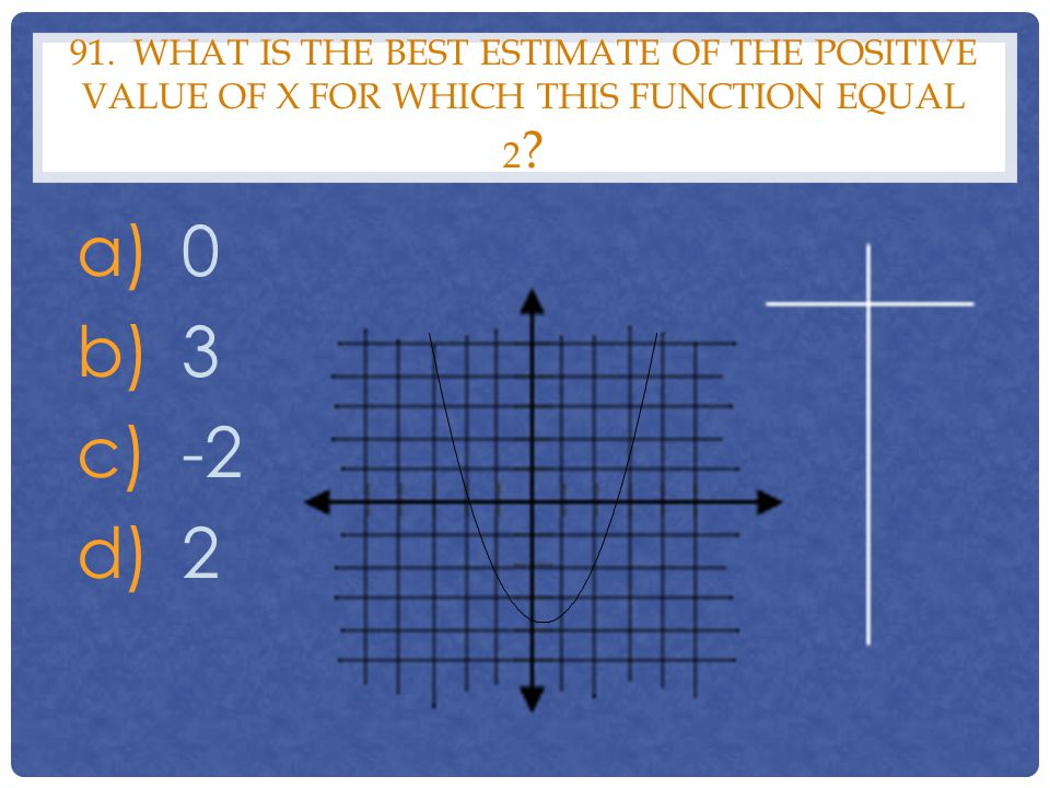 91. WHAT IS THE BEST ESTIMATE OF THE POSITIVE VALUE OF X FOR WHICH THIS FUNCTION EQUAL 2 ? a)0 b)3 c)-2 d)2