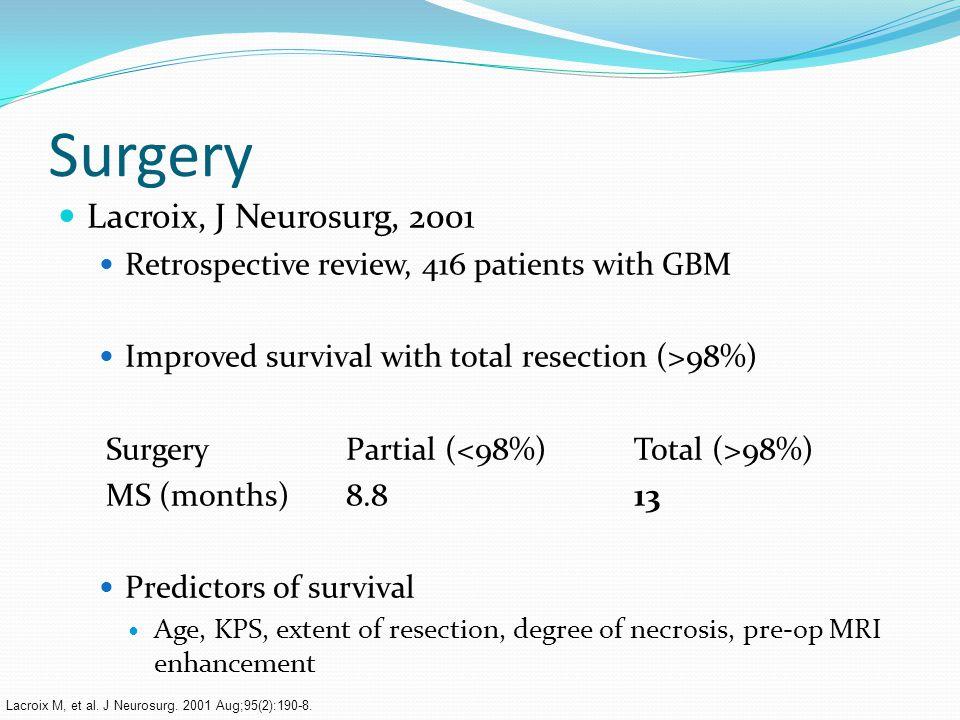 Surgery Lacroix, J Neurosurg, 2001 Retrospective review, 416 patients with GBM Improved survival with total resection (>98%) SurgeryPartial ( 98%) MS (months)8.813 Predictors of survival Age, KPS, extent of resection, degree of necrosis, pre-op MRI enhancement Lacroix M, et al.