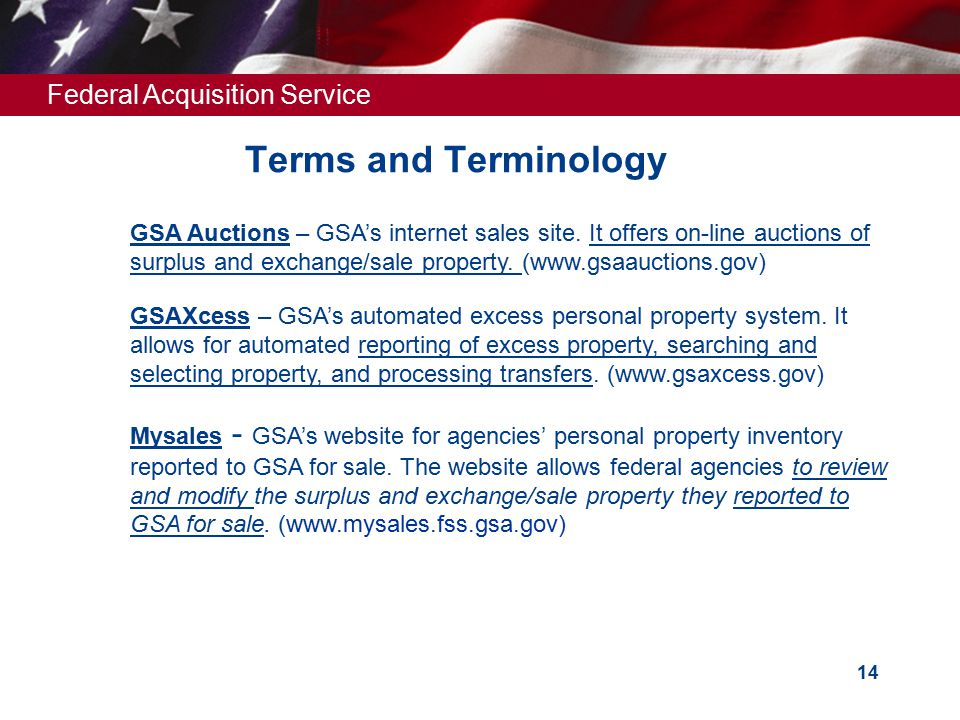 Federal Acquisition Service 14 Terms and Terminology GSA Auctions – GSA's internet sales site. It offers on-line auctions of surplus and exchange/sale