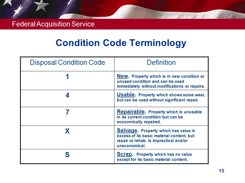 Federal Acquisition Service 15 Condition Code Terminology Disposal Condition CodeDefinition 1 New.