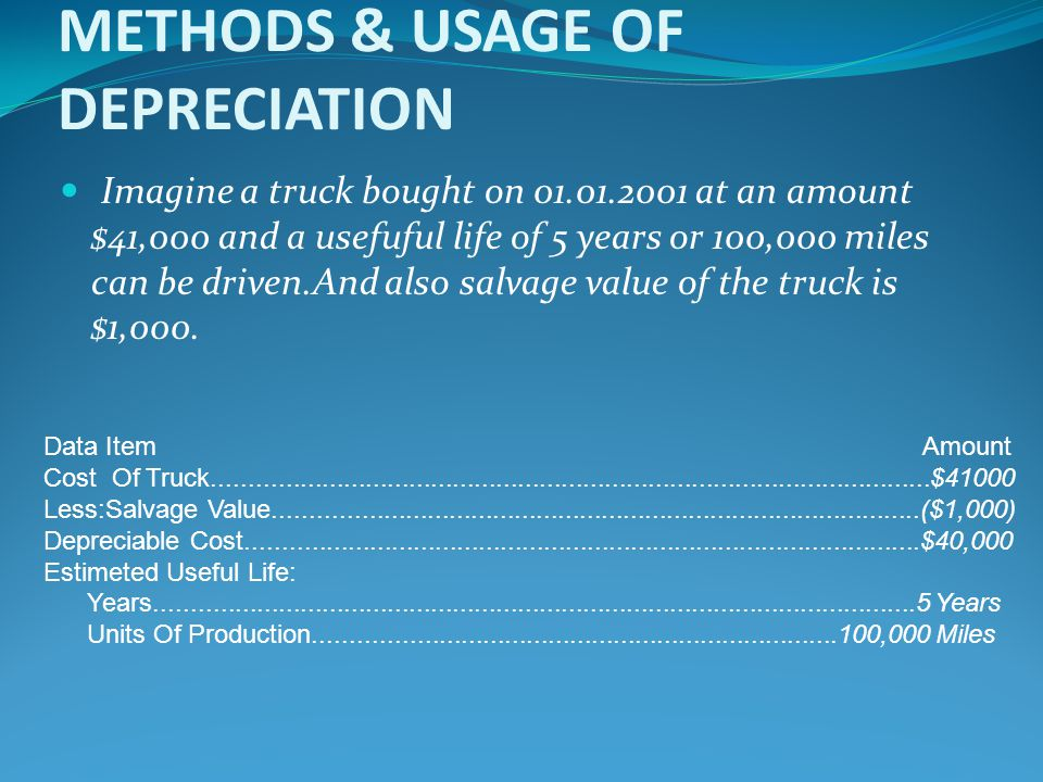 METHODS & USAGE OF DEPRECIATION Imagine a truck bought on 01.01.2001 at an amount $41,000 and a usefuful life of 5 years or 100,000 miles can be drive