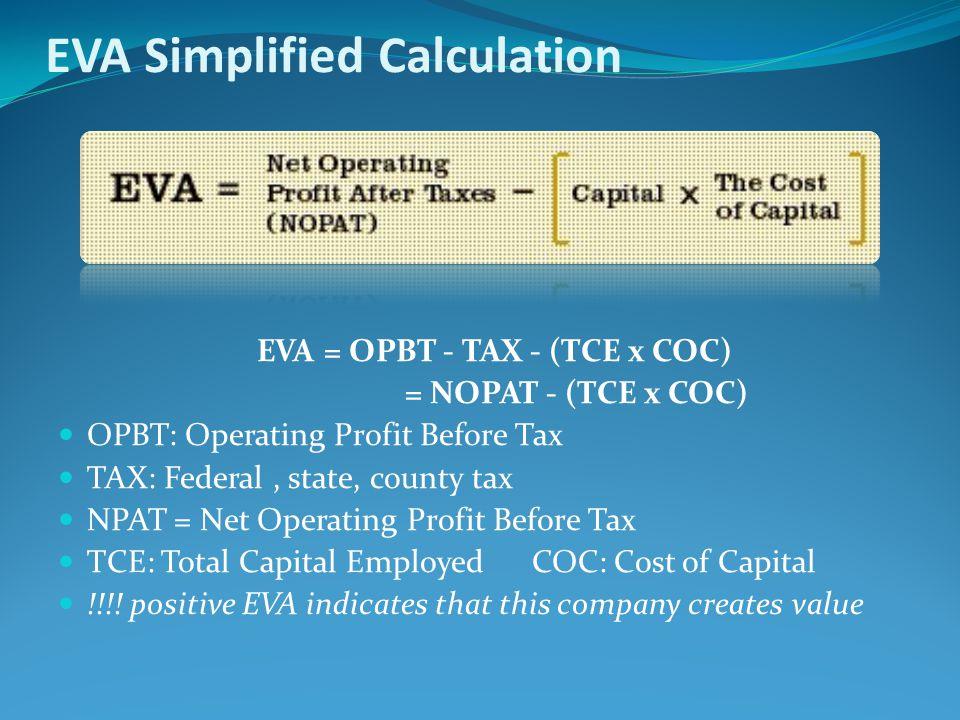 EVA Simplified Calculation EVA= OPBT - TAX - (TCE x COC) = NOPAT - (TCE x COC) OPBT: Operating Profit Before Tax TAX: Federal, state, county tax NPAT