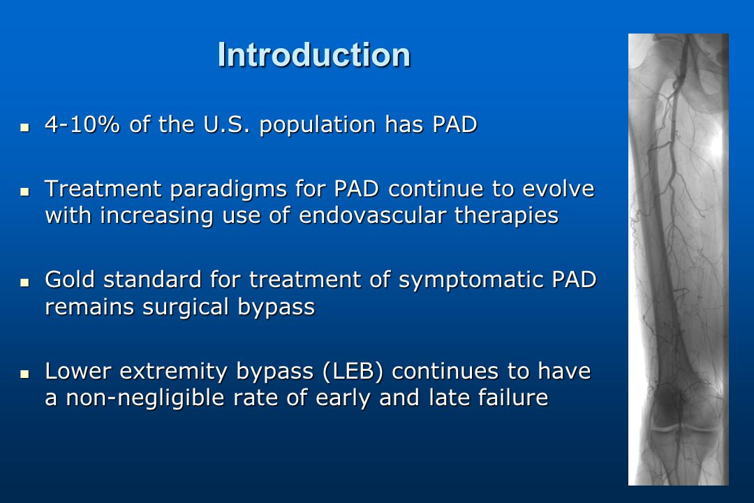 Introduction 4-10% of the U.S. population has PAD 4-10% of the U.S.