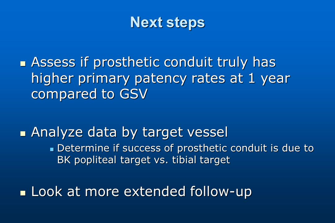 Next steps Assess if prosthetic conduit truly has higher primary patency rates at 1 year compared to GSV Assess if prosthetic conduit truly has higher primary patency rates at 1 year compared to GSV Analyze data by target vessel Analyze data by target vessel Determine if success of prosthetic conduit is due to BK popliteal target vs.