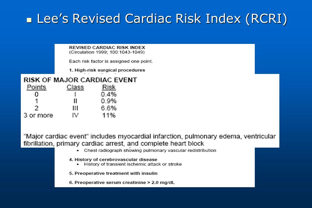 Lee's Revised Cardiac Risk Index (RCRI) Lee's Revised Cardiac Risk Index (RCRI)