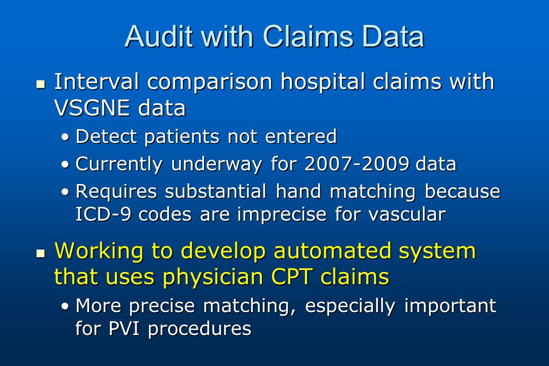 Audit with Claims Data Interval comparison hospital claims with VSGNE data Interval comparison hospital claims with VSGNE data Detect patients not enteredDetect patients not entered Currently underway for 2007-2009 dataCurrently underway for 2007-2009 data Requires substantial hand matching because ICD-9 codes are imprecise for vascularRequires substantial hand matching because ICD-9 codes are imprecise for vascular Working to develop automated system that uses physician CPT claims Working to develop automated system that uses physician CPT claims More precise matching, especially important for PVI proceduresMore precise matching, especially important for PVI procedures