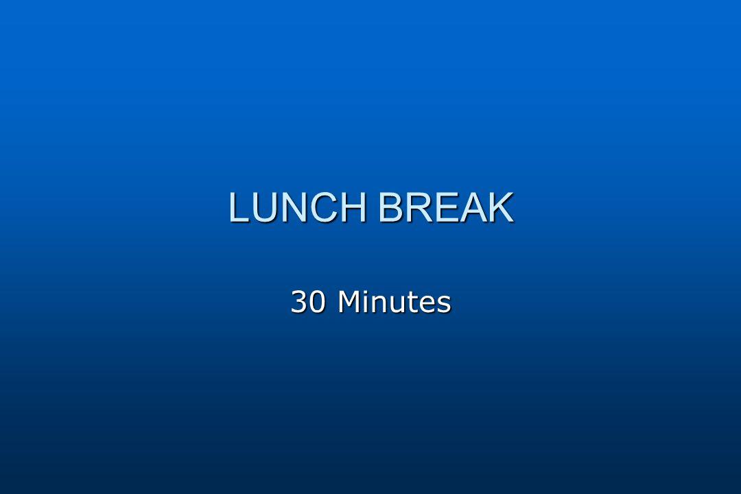 LUNCH BREAK 30 Minutes