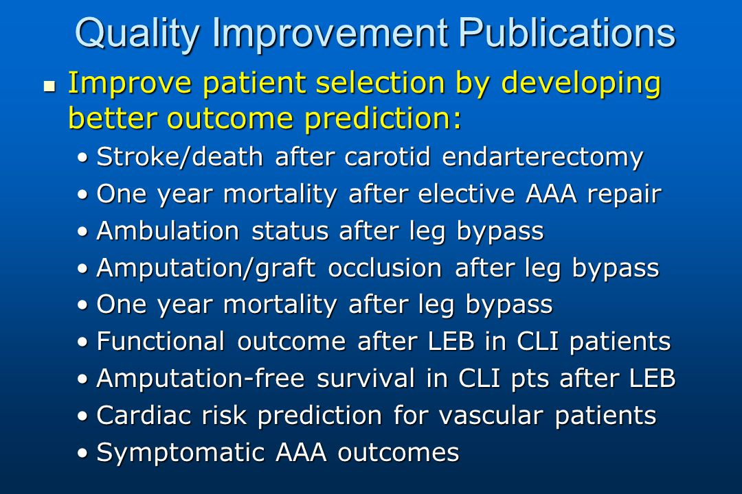 Quality Improvement Publications Improve patient selection by developing better outcome prediction: Improve patient selection by developing better outcome prediction: Stroke/death after carotid endarterectomyStroke/death after carotid endarterectomy One year mortality after elective AAA repairOne year mortality after elective AAA repair Ambulation status after leg bypassAmbulation status after leg bypass Amputation/graft occlusion after leg bypassAmputation/graft occlusion after leg bypass One year mortality after leg bypassOne year mortality after leg bypass Functional outcome after LEB in CLI patientsFunctional outcome after LEB in CLI patients Amputation-free survival in CLI pts after LEBAmputation-free survival in CLI pts after LEB Cardiac risk prediction for vascular patientsCardiac risk prediction for vascular patients Symptomatic AAA outcomesSymptomatic AAA outcomes