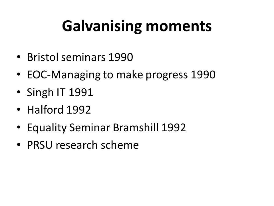 Galvanising moments Bristol seminars 1990 EOC-Managing to make progress 1990 Singh IT 1991 Halford 1992 Equality Seminar Bramshill 1992 PRSU research scheme