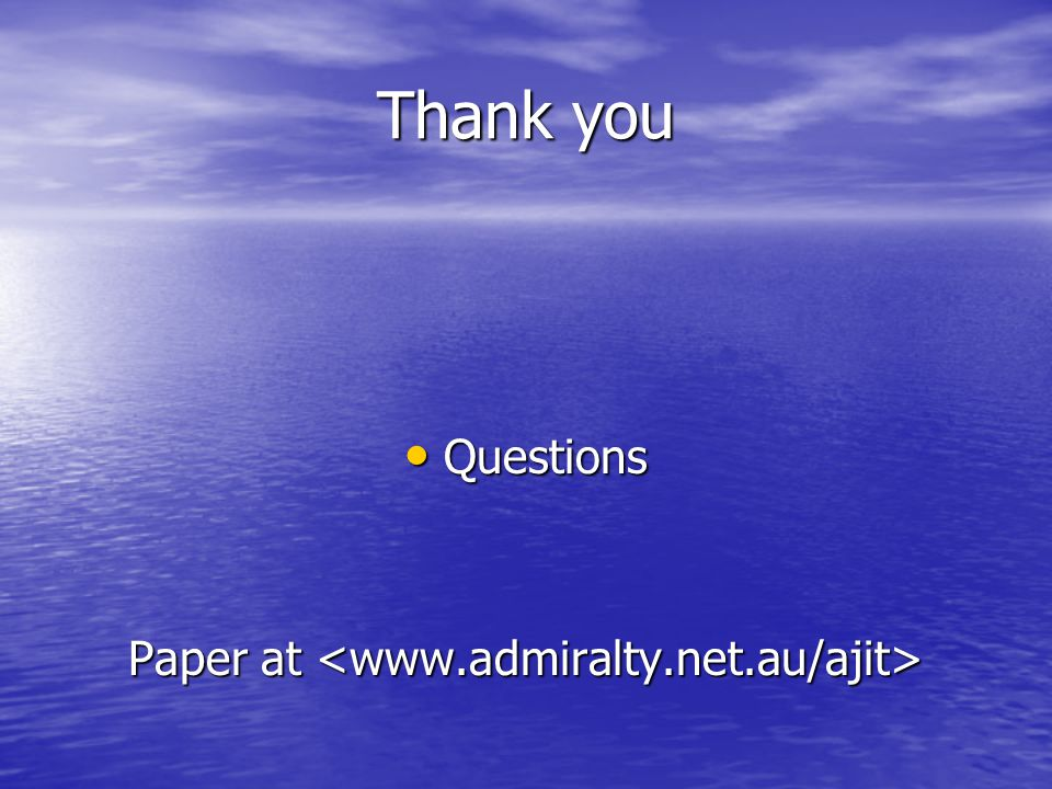 Thank you Questions Questions Paper at Paper at