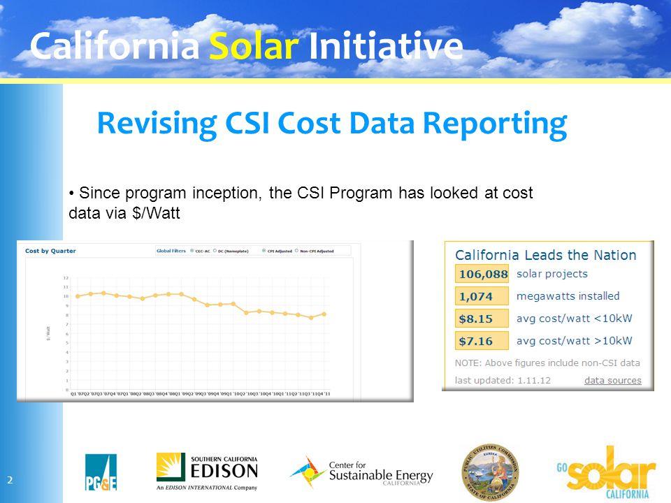 California Solar Initiative Revising CSI Cost Data Reporting 2 Since program inception, the CSI Program has looked at cost data via $/Watt