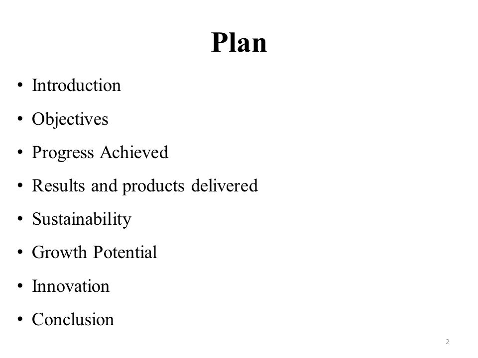 Plan Introduction Objectives Progress Achieved Results and products delivered Sustainability Growth Potential Innovation Conclusion 2