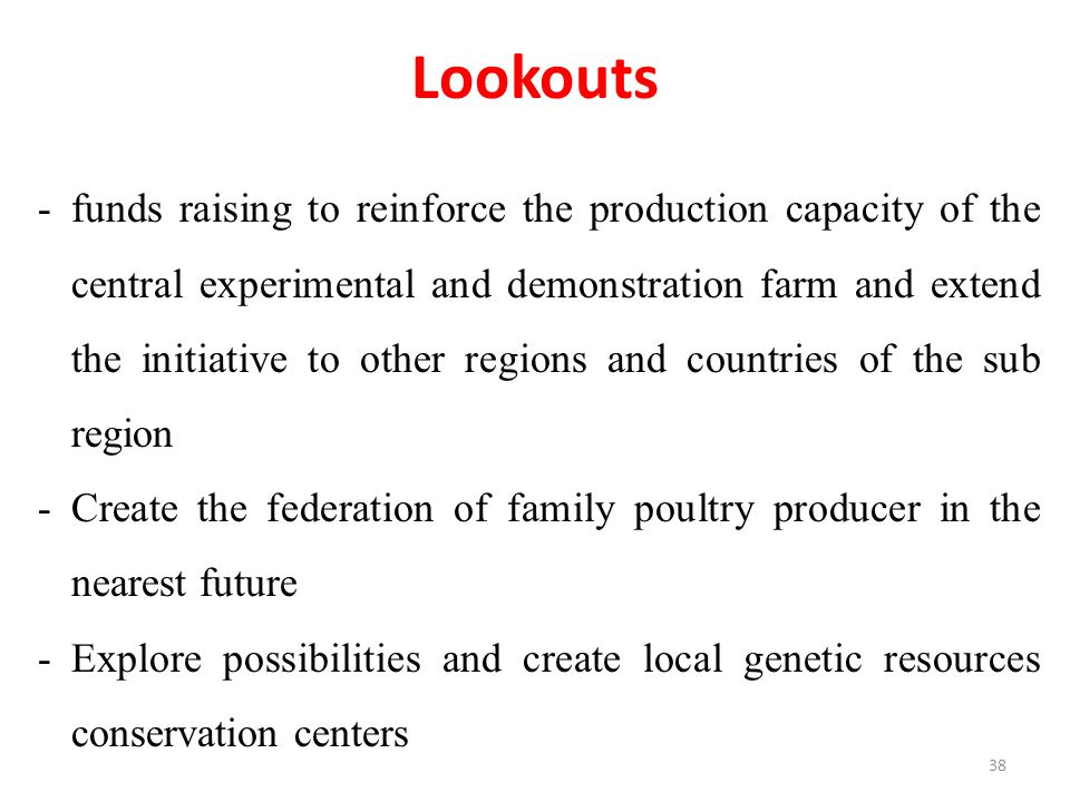 Lookouts -funds raising to reinforce the production capacity of the central experimental and demonstration farm and extend the initiative to other regions and countries of the sub region -Create the federation of family poultry producer in the nearest future -Explore possibilities and create local genetic resources conservation centers 38