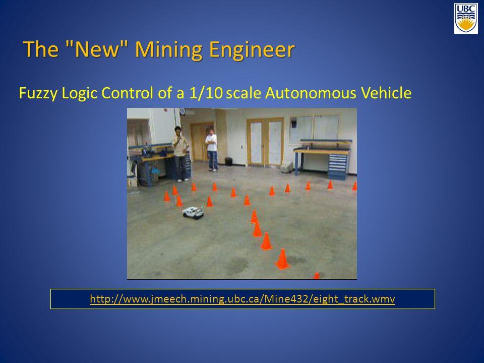 Fuzzy Logic Control of a 1/10 scale Autonomous Vehicle http://www.jmeech.mining.ubc.ca/Mine432/eight_track.wmv The New Mining Engineer