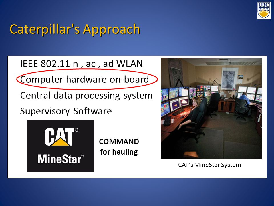 IEEE 802.11 n, ac, ad WLAN Computer hardware on-board Central data processing system Supervisory Software CAT's MineStar System COMMAND for hauling Ca