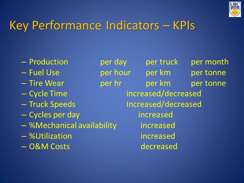 – Production per dayper truckper month – Fuel Useper hourper kmper tonne – Tire Wearper hrper kmper tonne – Cycle Timeincreased/decreased – Truck SpeedsIncreased/decreased – Cycles per day increased – %Mechanical availabilityincreased – %Utilizationincreased – O&M Costsdecreased Key Performance Indicators – KPIs