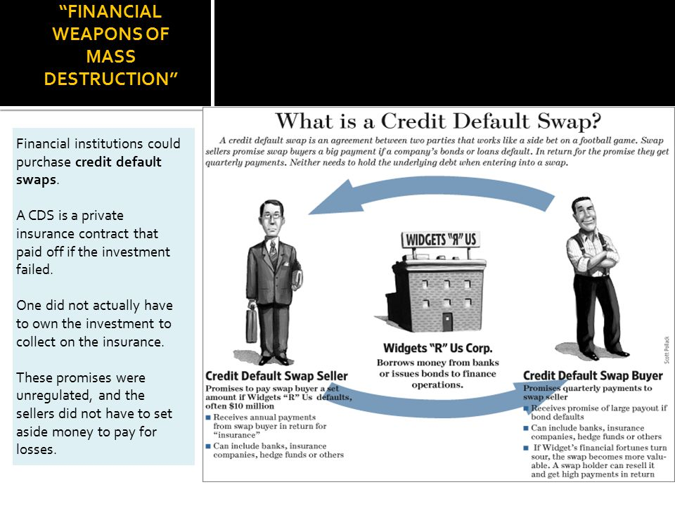 FINANCIAL WEAPONS OF MASS DESTRUCTION Financial institutions could purchase credit default swaps.