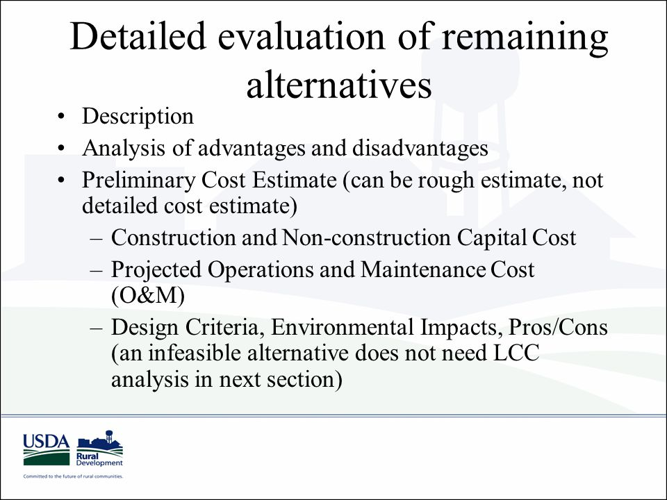 Detailed evaluation of remaining alternatives Description Analysis of advantages and disadvantages Preliminary Cost Estimate (can be rough estimate, not detailed cost estimate) –Construction and Non-construction Capital Cost –Projected Operations and Maintenance Cost (O&M) –Design Criteria, Environmental Impacts, Pros/Cons (an infeasible alternative does not need LCC analysis in next section)