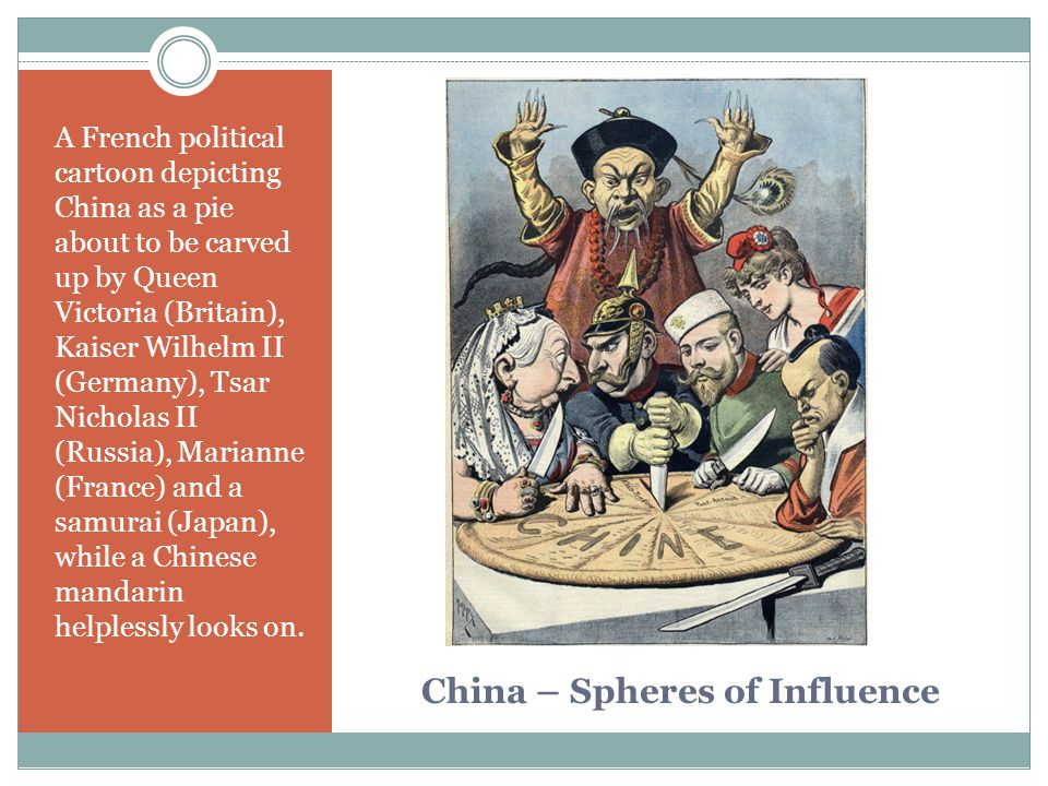 China – Spheres of Influence A French political cartoon depicting China as a pie about to be carved up by Queen Victoria (Britain), Kaiser Wilhelm II