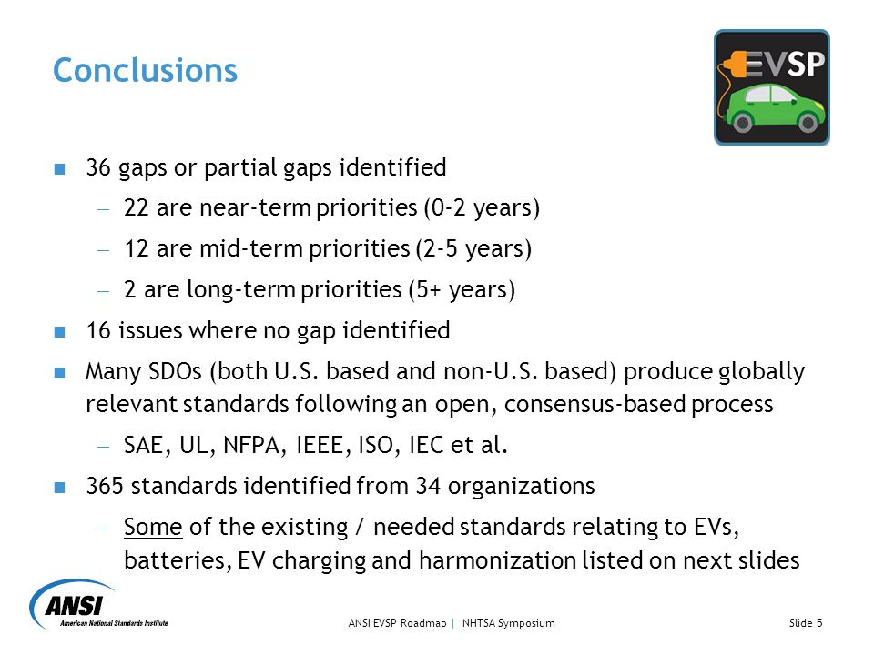 Conclusions 36 gaps or partial gaps identified  22 are near-term priorities (0-2 years)  12 are mid-term priorities (2-5 years)  2 are long-term priorities (5+ years) 16 issues where no gap identified Many SDOs (both U.S.
