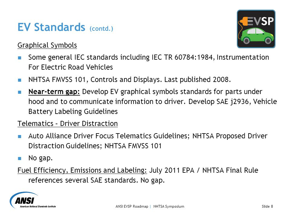 EV Standards (contd.) Graphical Symbols Some general IEC standards including IEC TR 60784:1984, Instrumentation For Electric Road Vehicles NHTSA FMVSS 101, Controls and Displays.