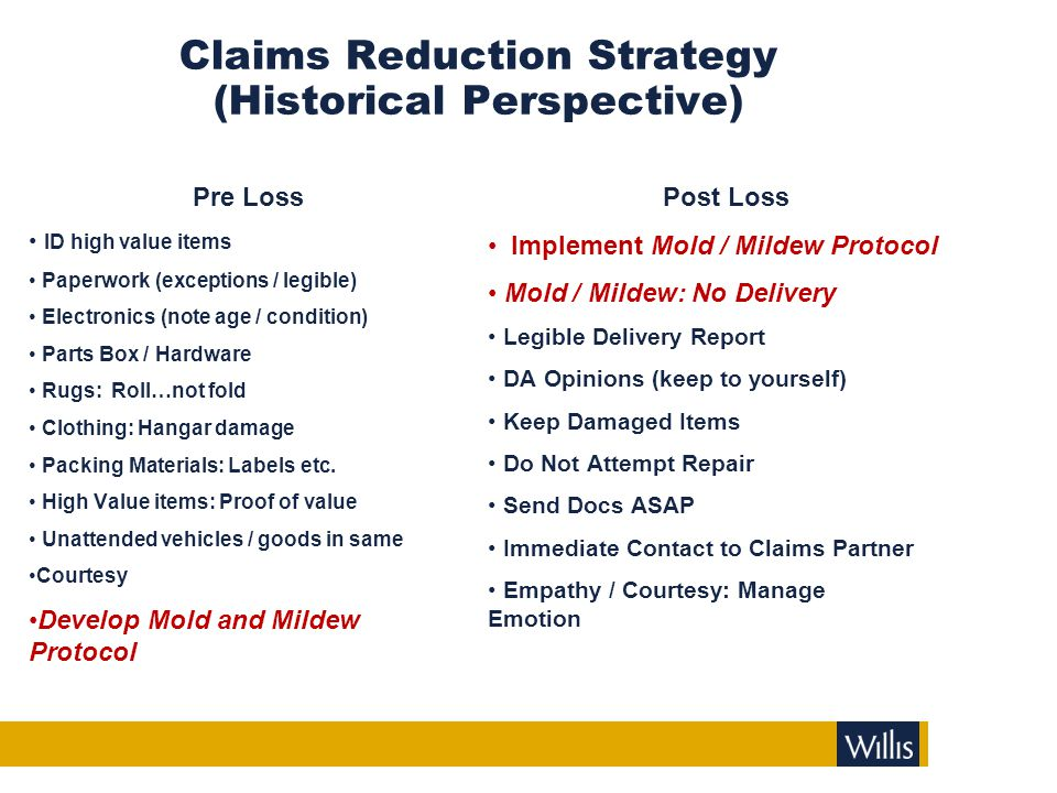 Claims Reduction Strategy (Historical Perspective) Pre Loss ID high value items Paperwork (exceptions / legible) Electronics (note age / condition) Pa