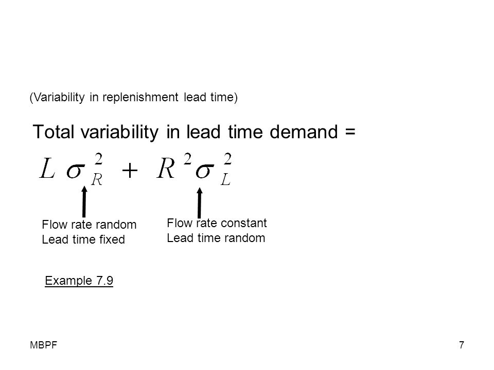 MBPF7 Total variability in lead time demand = (Variability in replenishment lead time) Flow rate random Lead time fixed Flow rate constant Lead time r